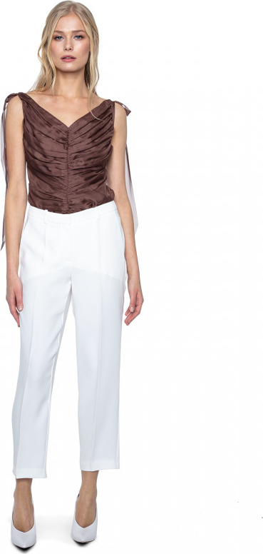 Brązowa bluzka ANETA KRĘGLICKA X L'AF z jedwabiu