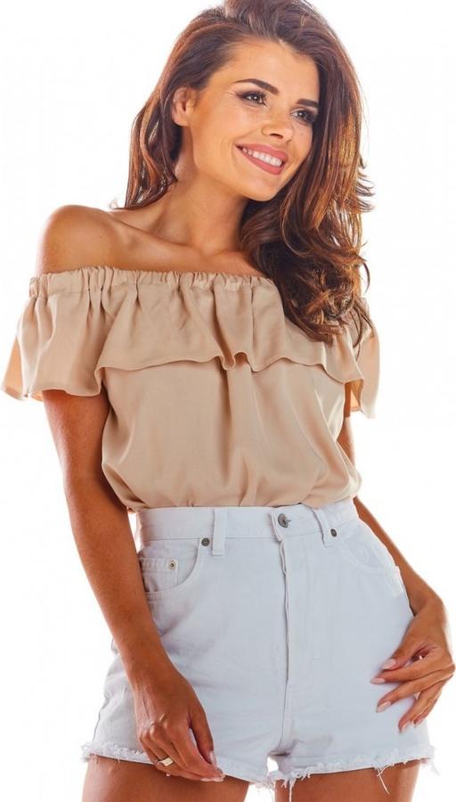 Brązowa bluzka Awama z krótkim rękawem
