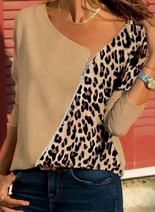 Brązowa bluzka Cikelly z długim rękawem w stylu casual z okrągłym dekoltem