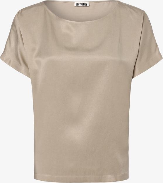 Brązowa bluzka Drykorn w stylu glamour z krótkim rękawem