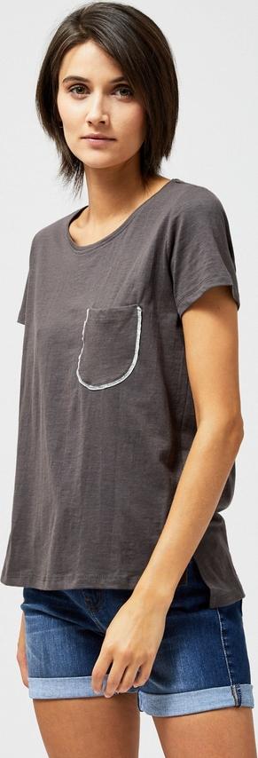 Brązowa bluzka Moodo w stylu casual z okrągłym dekoltem z krótkim rękawem