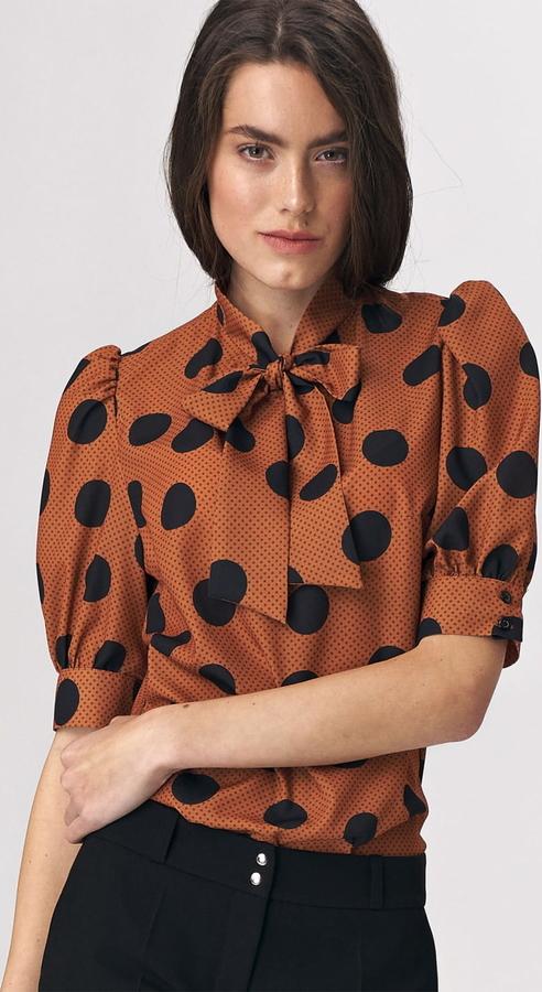 Brązowa bluzka Nife z długim rękawem