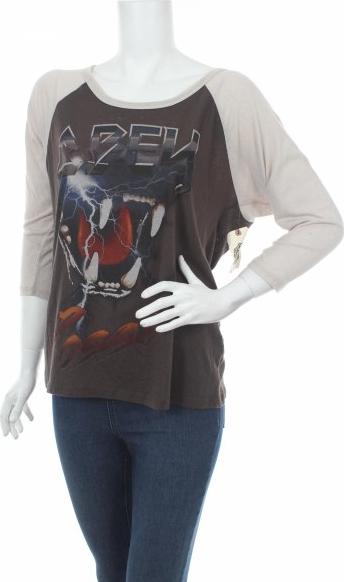 Brązowa bluzka Obey z długim rękawem z okrągłym dekoltem
