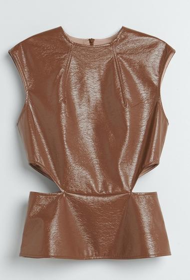 Brązowa bluzka Reserved z okrągłym dekoltem w stylu casual bez rękawów
