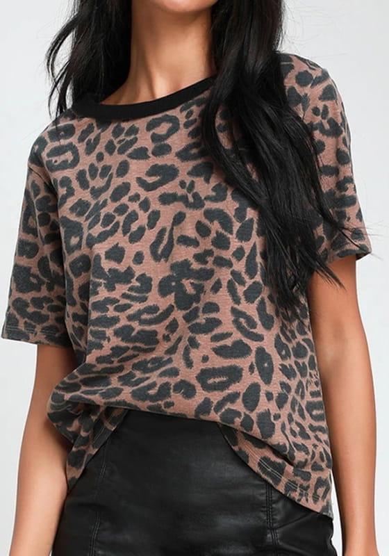 Brązowa bluzka Sandbella z krótkim rękawem