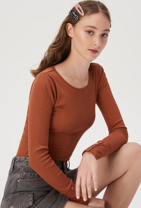 Brązowa bluzka Sinsay z długim rękawem