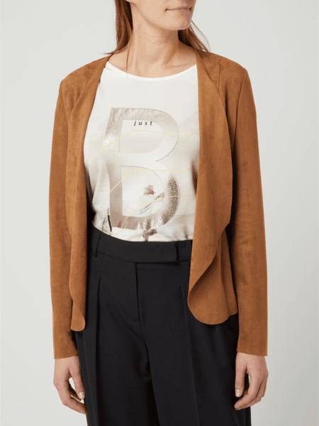Brązowa kurtka Betty & Co Grey w stylu casual krótka