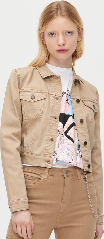 Brązowa kurtka Cropp w stylu casual z jeansu krótka