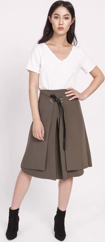Brązowa spódnica Lanti ze skóry ekologicznej