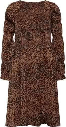 Brązowa sukienka A-view z długim rękawem