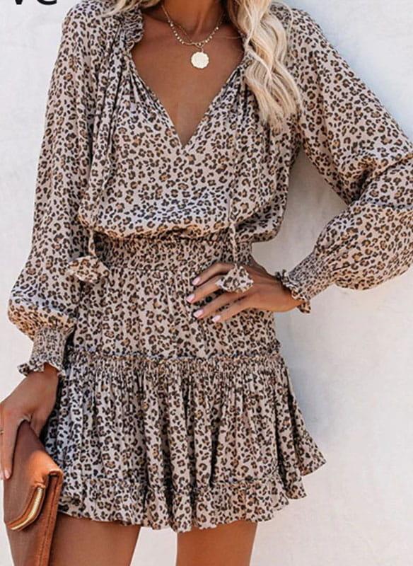 Brązowa sukienka Arilook z dekoltem w kształcie litery v