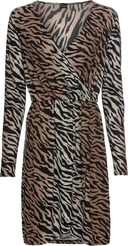 Brązowa sukienka bonprix BODYFLIRT z dekoltem w kształcie litery v z długim rękawem mini