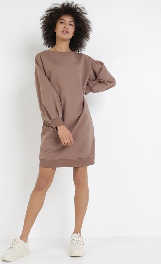 Brązowa sukienka born2be mini z okrągłym dekoltem z długim rękawem