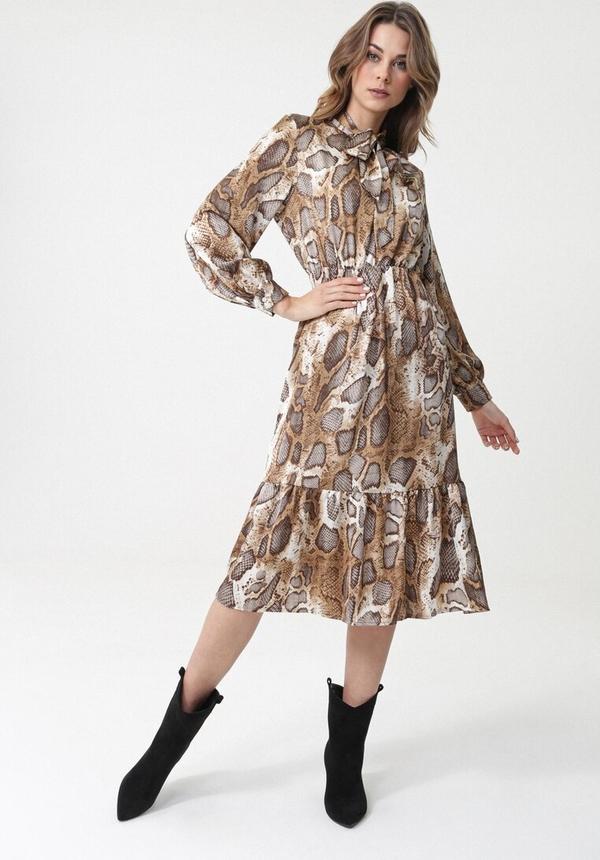 Brązowa sukienka born2be rozkloszowana z żabotem midi