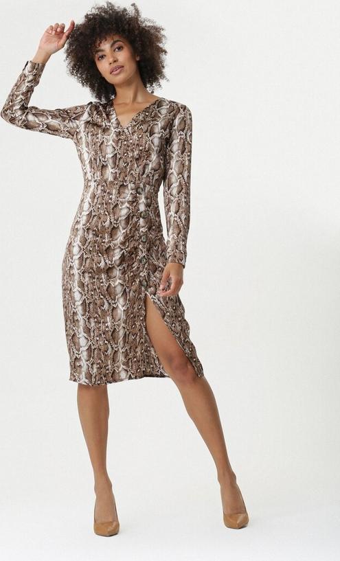 Brązowa sukienka born2be w stylu casual mini z długim rękawem