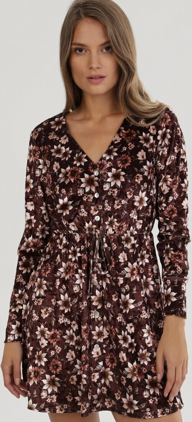 Brązowa sukienka born2be z dekoltem w kształcie litery v mini z długim rękawem