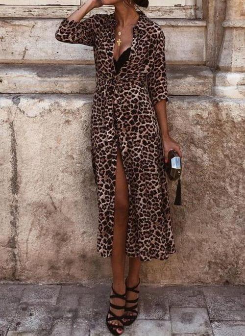 Brązowa sukienka Cikelly z dekoltem w kształcie litery v midi w stylu casual