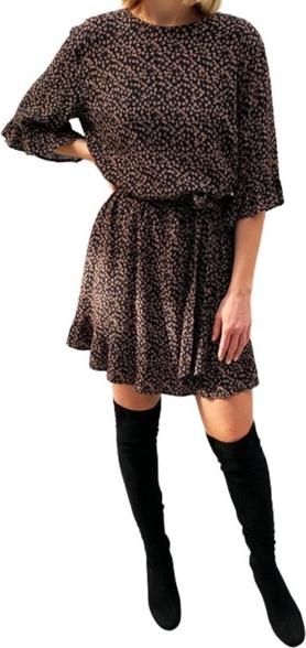 Brązowa sukienka ECHO z długim rękawem w stylu casual z okrągłym dekoltem