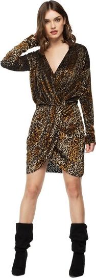 Brązowa sukienka fADD mini z dekoltem w kształcie litery v