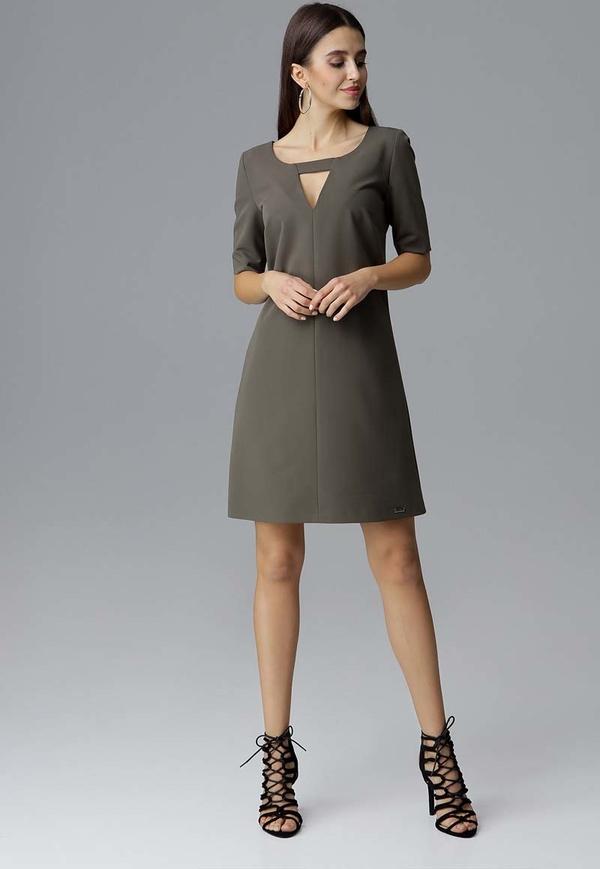Brązowa sukienka Figl z długim rękawem