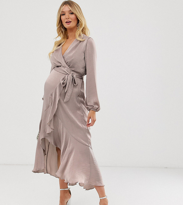 Brązowa sukienka Flounce London Maternity