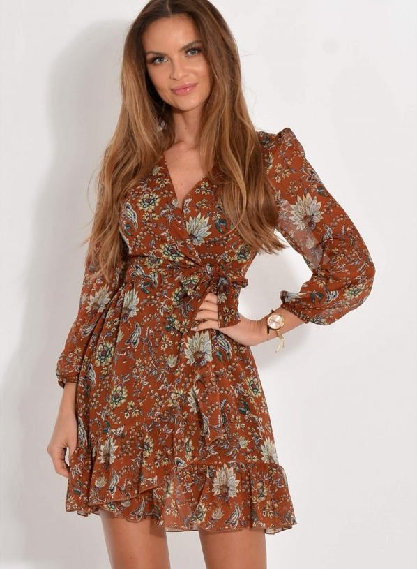 Brązowa sukienka forseti.net.pl z długim rękawem z dekoltem w kształcie litery v w stylu casual