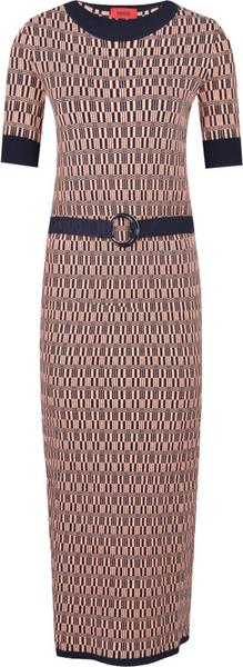 Brązowa sukienka Hugo Boss z okrągłym dekoltem