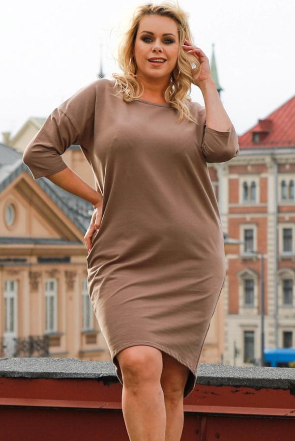 Brązowa sukienka KARKO mini w stylu casual
