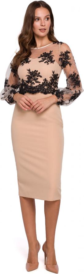Brązowa sukienka Makover ołówkowa z długim rękawem
