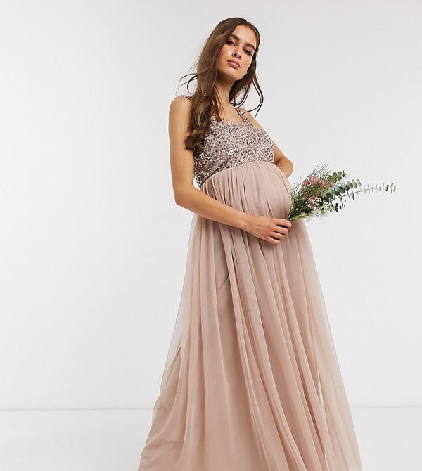 Brązowa sukienka Maya Maternity z tiulu