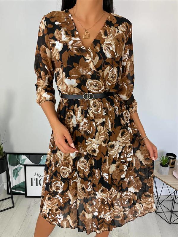 Brązowa sukienka ModnaKiecka.pl z dekoltem w kształcie litery v z szyfonu w stylu casual