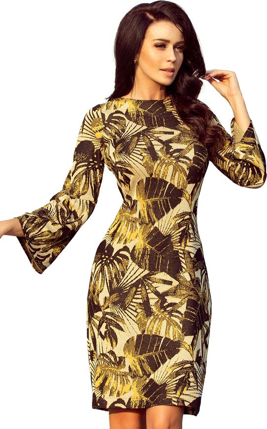 Brązowa sukienka NUMOCO w stylu casual z długim rękawem rozkloszowana