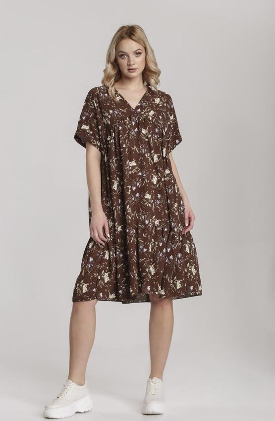 Brązowa sukienka Renee z dekoltem w kształcie litery v midi