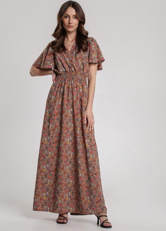 Brązowa sukienka Renee z krótkim rękawem w stylu boho maxi