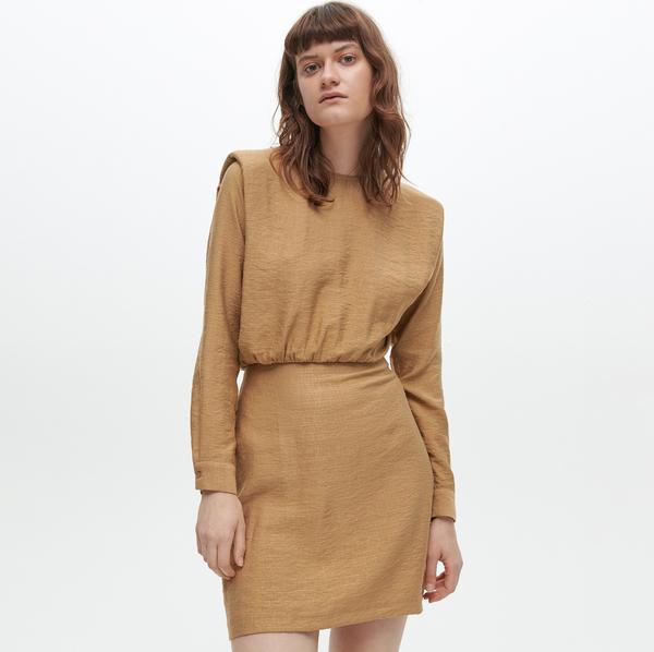 Brązowa sukienka Reserved z długim rękawem mini
