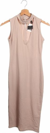 Brązowa sukienka Rt bez rękawów z dekoltem w kształcie litery v
