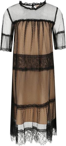 Brązowa sukienka Twinset z okrągłym dekoltem
