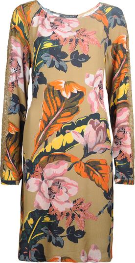 Brązowa sukienka Twinset z tkaniny z okrągłym dekoltem w stylu casual