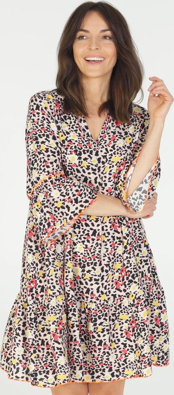 Brązowa sukienka Unisono mini z długim rękawem
