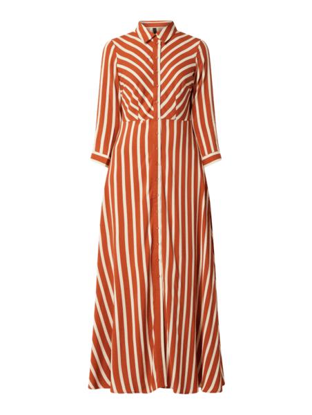 Brązowa sukienka YAS z długim rękawem koszulowa