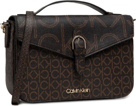 Brązowa torebka Calvin Klein na ramię z nadrukiem