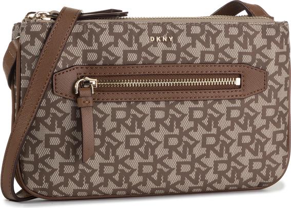 Brązowa torebka DKNY mała z nadrukiem w młodzieżowym stylu