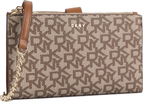 Brązowa torebka DKNY średnia z nadrukiem