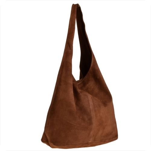 Brązowa torebka Real Leather ze skóry w stylu casual