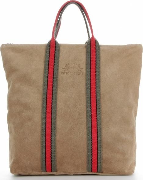 Brązowa torebka VITTORIA GOTTI z zamszu duża w wakacyjnym stylu