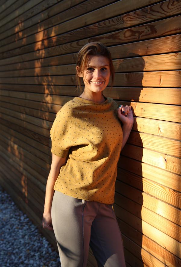 Brązowa tunika Byinsomnia w stylu casual z bawełny