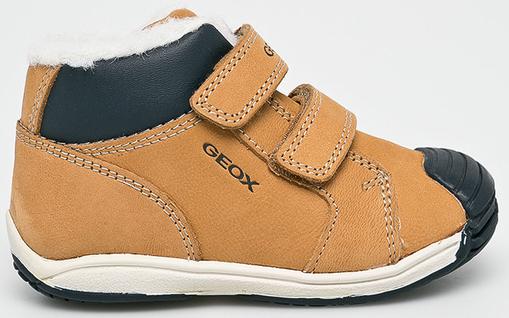 Brązowe buty dziecięce zimowe Geox na rzepy ze skóry