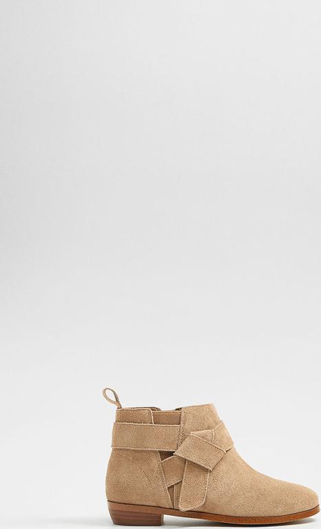 Brązowe buty dziecięce zimowe Mango Kids na zamek ze skóry