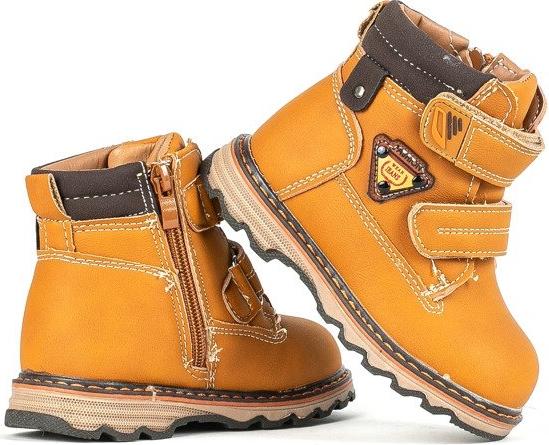 Brązowe buty dziecięce zimowe Royalfashion.pl dla chłopców na rzepy