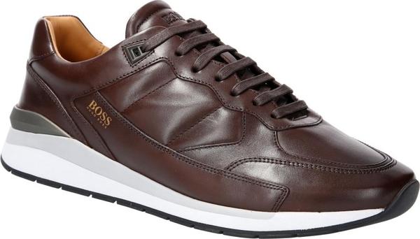Brązowe buty sportowe Boss ze skóry w stylu casual sznurowane